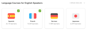 Duolingo language selection options