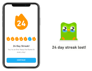 Duolingo review - Gamification elements screenshots - Streak design