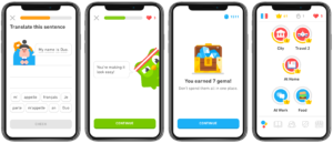 Duolingo review - Gamification elements screenshots - Progress bar, exp, gems, skill tree.